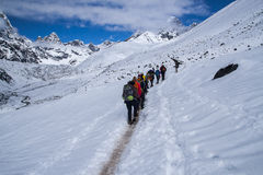 Trail trekking in the Himalayas between Dingboche and Dughla Royalty Free Stock Images