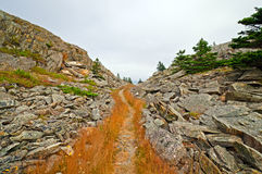 Trail trhough a mountain pass Stock Photo