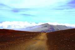 Trail on volcano, Maui Stock Images