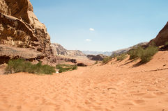 Trail in Wadi Rum Jordan Royalty Free Stock Photography