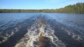 Trail on the water from a motor boat. Summer day at the forest lake