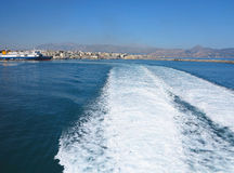 Trail on water surface behind of fast moving ferryboat Royalty Free Stock Photos