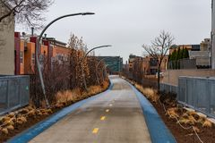 The 606 Trail in Wicker Park Chicago during Winter stock images