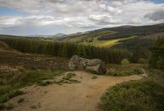 Trail wicklow way leading through the beautiful Irish Landscape. Walking the wicklow way, Ireland stock photos