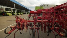 The trailed plough with discs for harrows to harvesters stock video footage