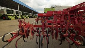 The trailed plough with discs for harrows to harvesters stock video