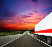 Trailer. Cargo trailer carrying the cargo on the highway Royalty Free Stock Photo