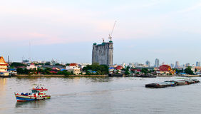 Trailer Boat at Chaopraya River Thailand Stock Photos