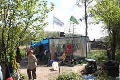 Trailer camp movement of the defenders of the Khimki forest Stock Photo