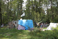 Trailer camp movement of the defenders of the Khimki forest Stock Image