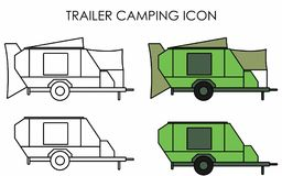 Trailer camping icon. Vehicle towed for leisure. Mobile home. Structure to store groceries and sleep stock illustration