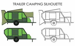 Trailer camping silhouette. Vehicle towed for leisure. Mobile home. Structure to store groceries and sleep vector illustration