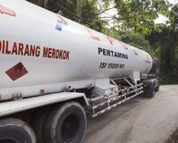 a trailer car carrying piles to an area of Aceh, Indonesia