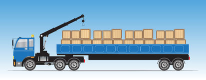 Trailer Cargo Truck with Crane Stock Images