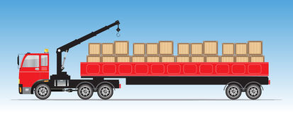 Trailer Cargo Truck with Crane Stock Photography