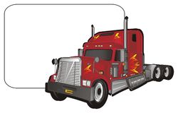 Trailer and clean paper. Red american trailer and clean white paper stock illustration