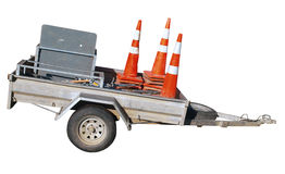 Trailer with Cones Stock Images