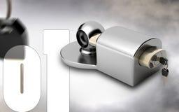 Trailer coupling lock. Digital illustration of Trailer coupling lock in colour  background Stock Photo
