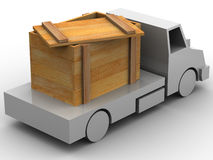 Trailer with crate. 3d Royalty Free Stock Photo