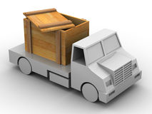 Trailer with crate. 3d Very beautiful three-dimensional illustration, figure stock illustration