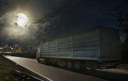 The trailer delivers the goods to the industrial cente stock photos