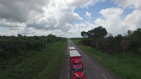 Trailer for dual semi trailer on the road. Trailer for dual semi trailer stock footage