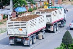 Trailer dump truck of Tanachai company. Royalty Free Stock Photo