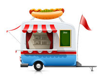 Trailer fast food hot dog. Vector illustration  on white background Stock Images