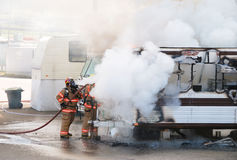 Trailer Fire Royalty Free Stock Photo