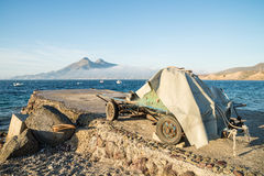 Trailer with fishing nets Royalty Free Stock Images