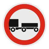 Trailer is forbidden icon, flat style. Trailer is forbidden icon. Flat illustration of trailer is forbidden vector icon for web Royalty Free Stock Photos
