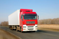 Trailer goes on road Royalty Free Stock Photos