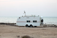 Trailer on the Gulf beach in Qatar Stock Images