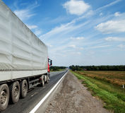 Trailer on a highway Royalty Free Stock Photography