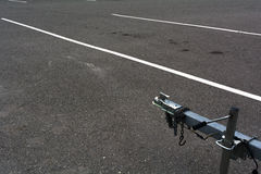 Trailer hitch in emtpy parking lot Royalty Free Stock Photo