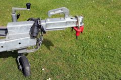 Trailer hitch and jockey wheel, with electric hook up and hitch Stock Images