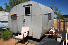Trailer home with windows and propane Royalty Free Stock Image