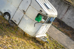 Trailer House Camper. Old Vintage Abandoned Mobile Home Trailer House Camper Royalty Free Stock Photo