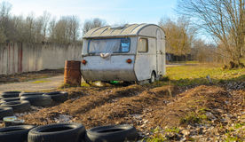 Trailer House Camper. Old Vintage Abandoned Mobile Home Trailer House Camper royalty free stock photos