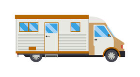 Trailer house vector illustration. Old camping trailer house standing summer day, nature holiday trailer house concept. Trailer house vector and trailer house stock illustration