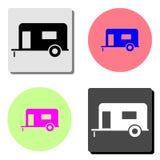 Trailer house on wheels. flat vector icon stock illustration