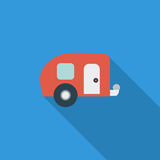Trailer. Icon. Flat vector related icon with long shadow for web and mobile applications. It can be used as - logo, pictogram, icon, infographic element. Vector royalty free illustration