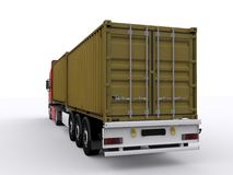 Trailer loaded with container. Loaded truck trailer with two container on with background Royalty Free Stock Photos
