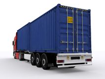 Trailer loaded with container Stock Photos