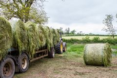 Trailer loaded with hay bales Royalty Free Stock Photo