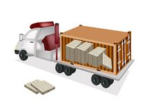 A Trailer Loading Wooden Palettes in Cargo Contain Royalty Free Stock Photos