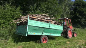 Trailer log full drive. Tractor with trailer fully loaded with tree wood firewood logs drive near forest stock video footage