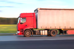 Trailer  moves on  highway Royalty Free Stock Image