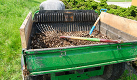 Trailer with mulch Stock Photo