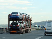 Trailer with new cars Royalty Free Stock Photo